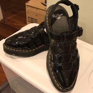 Dr. Martens black patent sandals